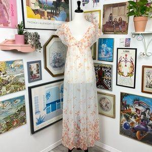 Vintage Sheer Floral Empire Waist Maxi Dress
